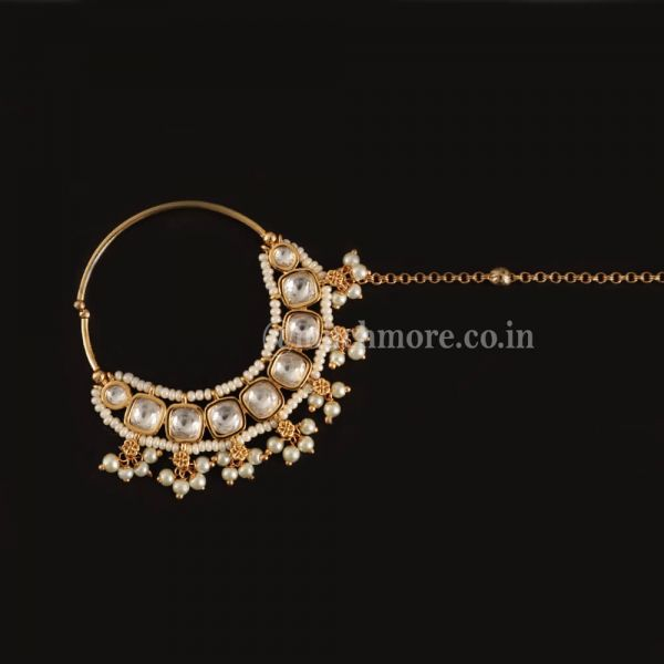 Gold Plated Traditional Uncut Kundan Ring Pearl Outline Nath