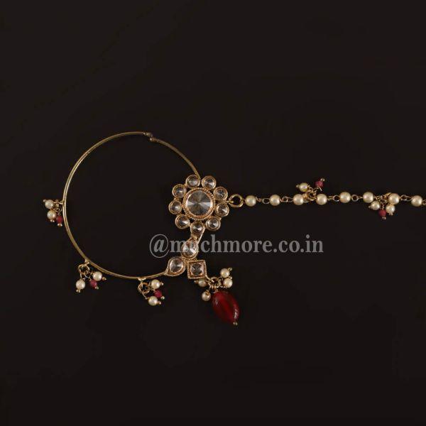 Vintage Antique Ruby Nath/Nose Ring For Bride
