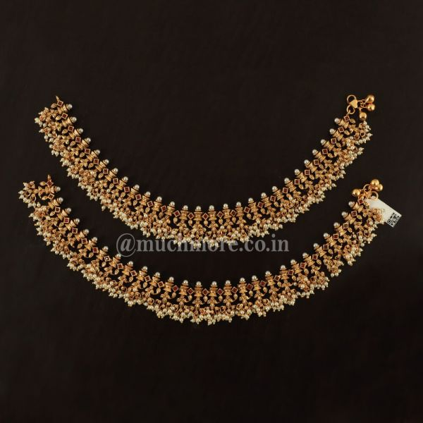 Traditional Indian Bridal Zaveri Pearls Payal Anklets