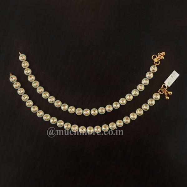 Gold Plated Meenakari Kundan Payal Anklets