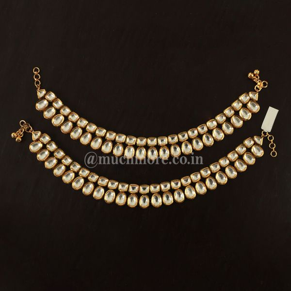 Traditional Double Layer Kundan Anklet For Bride