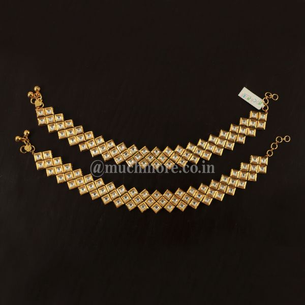 Gold Plated Kundan Stone Studded Anklet (Set of 2)