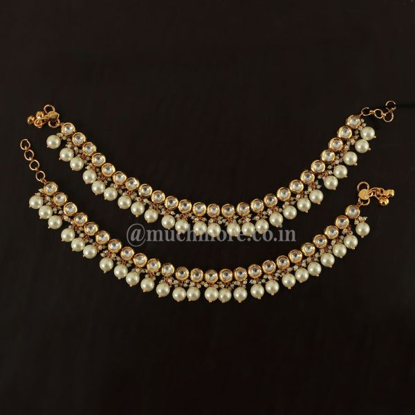 kundan Pearl Payal Anklet For Women And Girls