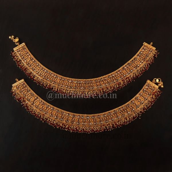 Antique Ruby With Reverse AD Payal-Anklets