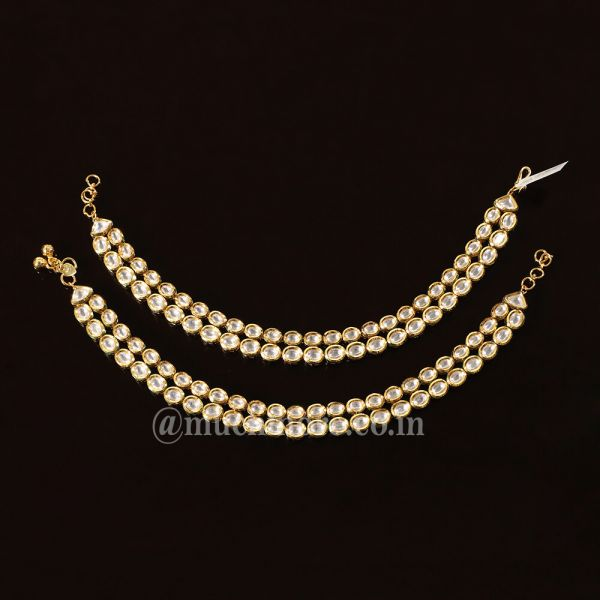 Simple Classic Gold Tone Kundan Payal Anklets