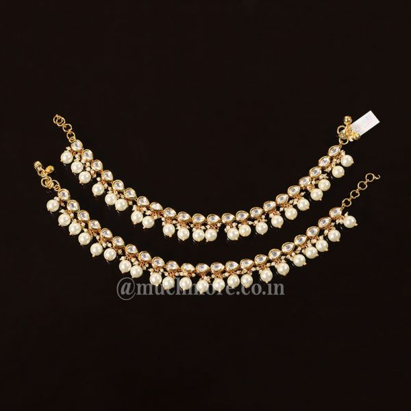 Kundan-inspired Gold Tone Anklets Pearl Hanging