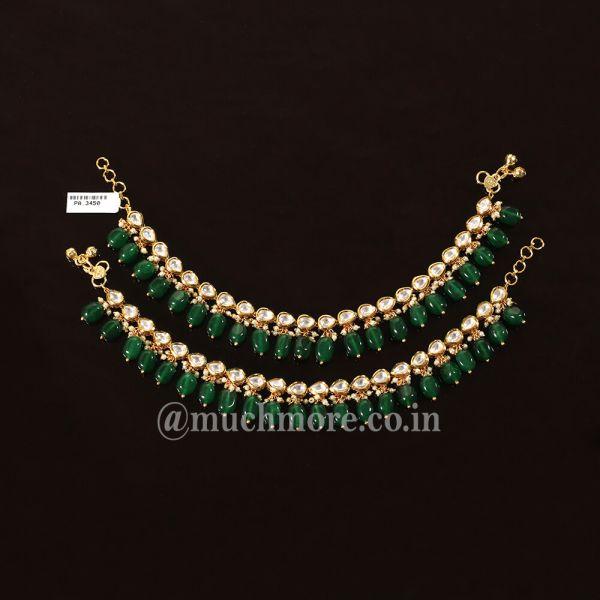 Traditional Emerald Green Kundan Anklets Online