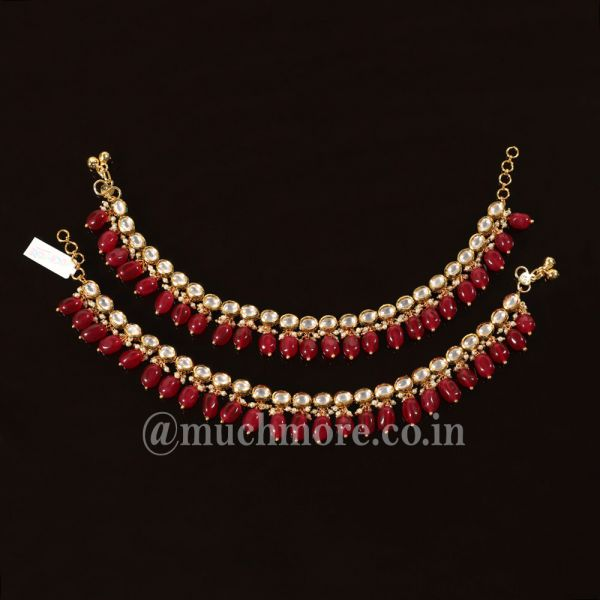 Ruby And Gold Tone Kundan Anklets For Wedding