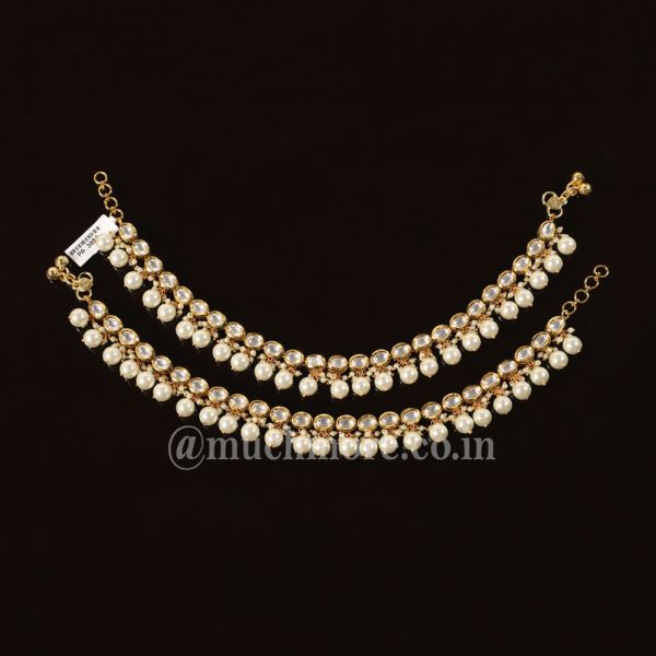 Classic Gold Tone Kundan With Pearls Anklets For Girls