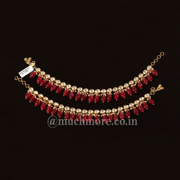 Gold Tone With Ruby Hanging Kundan Anklets By Much More