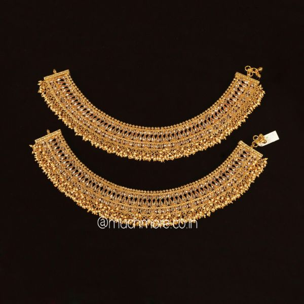 Designer Antique Payal Studded With Stones And Beads Plated With Gold Polish