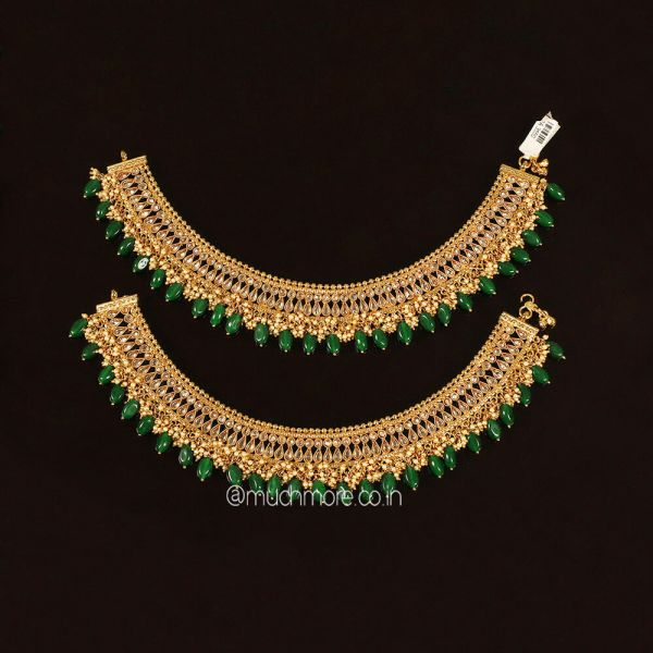 Emerald Green Gold Look Bridal Anklets