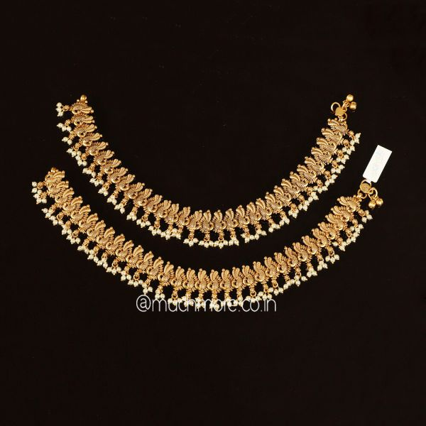 Antique Gold Plated Peacock Design Payal Anklet Leg Chain
