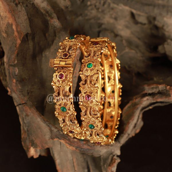 Ethnic Bollywood Gold Plated Ruby Green Polki Bangles Set
