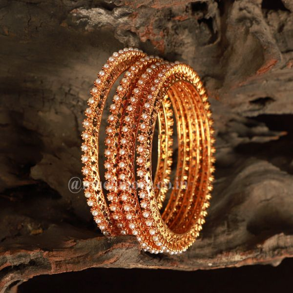 Very Beautiful Set Of 4 Seed Pearl Bangles