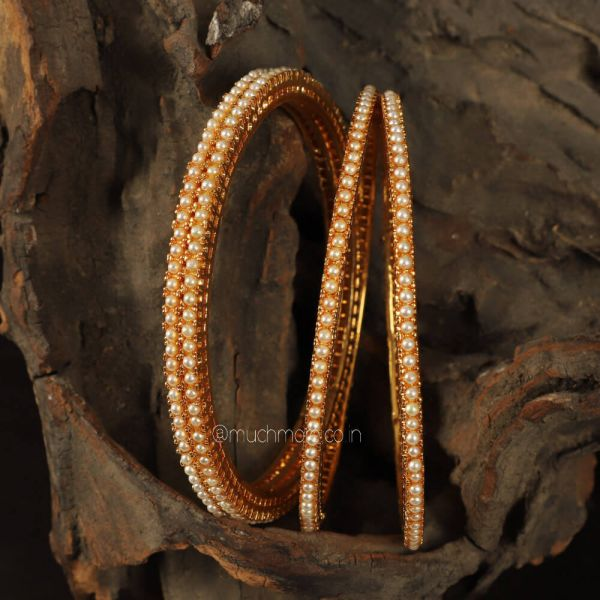 Gold Plated Pearl Traditional Bangles Set