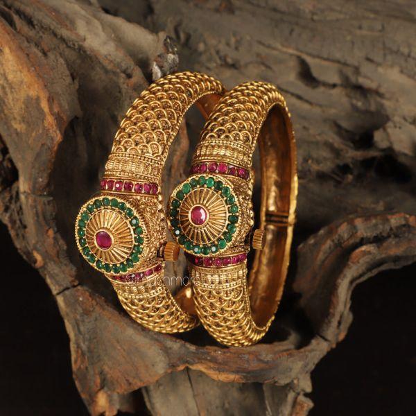 Designer Ruby Green Traditional Bangles