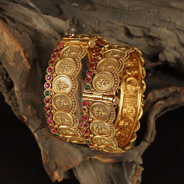 Temple Work Gold Plated Bangles For Women