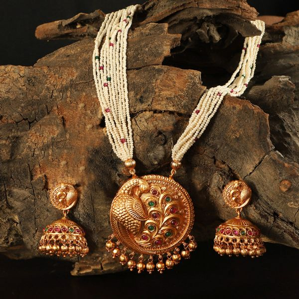 Peacock Pendant Necklace Set