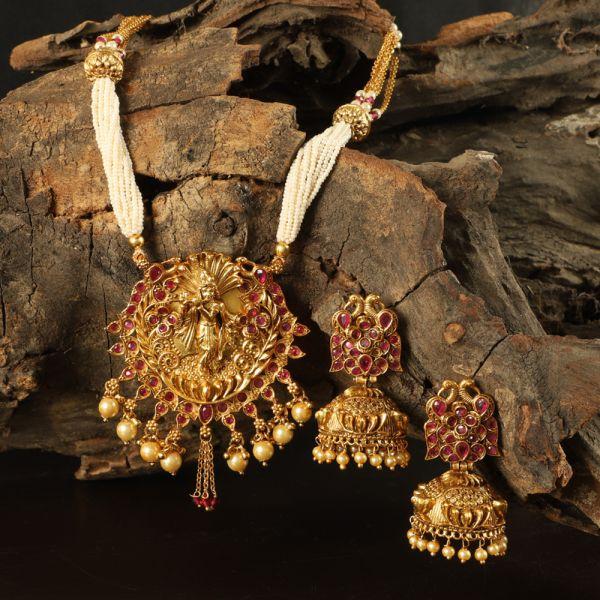 Lord Krishna Temple Pendant Necklace Set
