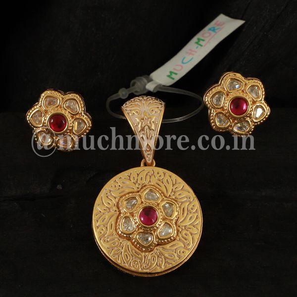 Cute And Small Kundan Round Pendant Set