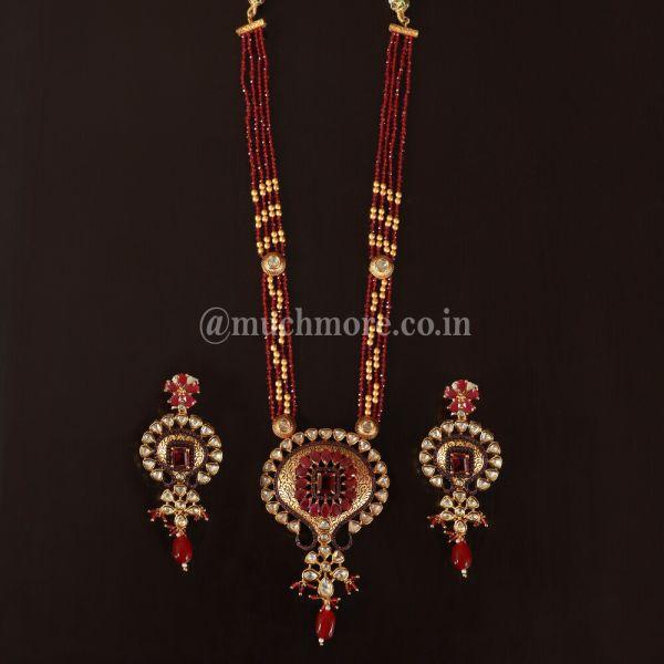 Ruby Beads Strings Kundan Meena Work Pendant Set