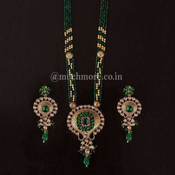 Elegantly Designed Emerald Green Pendant Set With Earrings