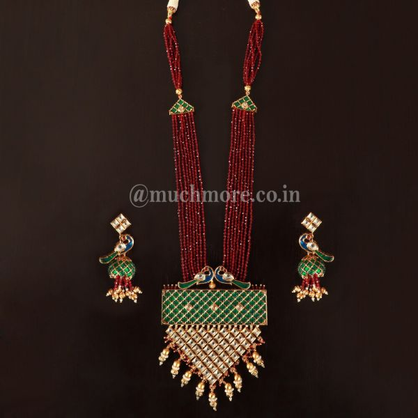 Embossed With Precious Green Stones Peacock Pendant Design