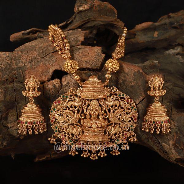Gold Look String And Maa Laxmi Temple Pendant Set
