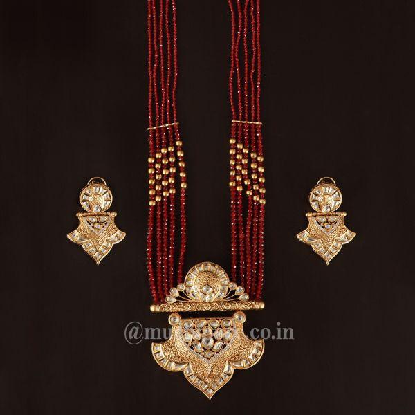 Gold Tone Ruby Beaded Pendant With Kundan Earrings