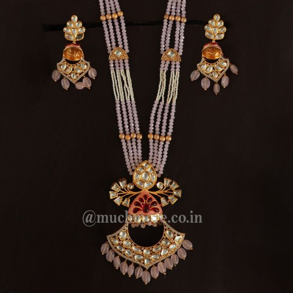 Stunning Pink Pendant And Earring Set Made With Kundan