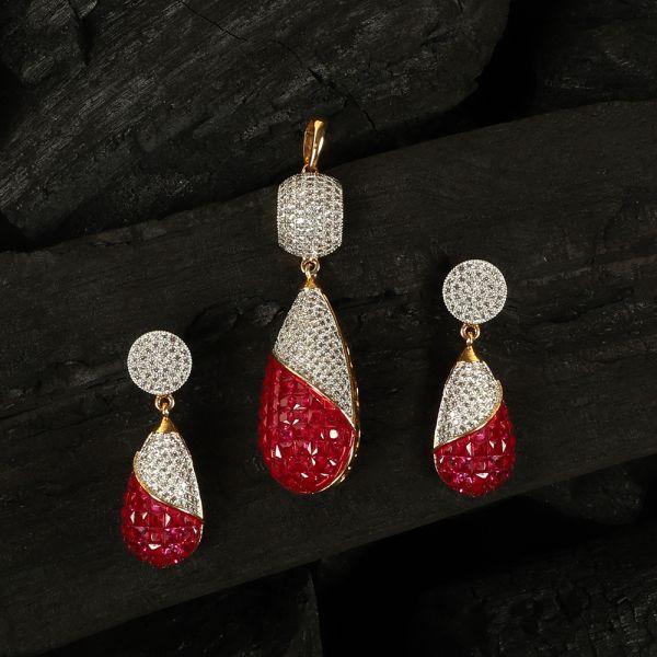 Cubic Zirconia Ruby Diamond Pendant Set