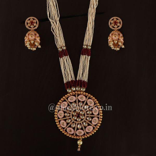 Heavy Designer Pink Color Pendant Necklace Jewellery Set