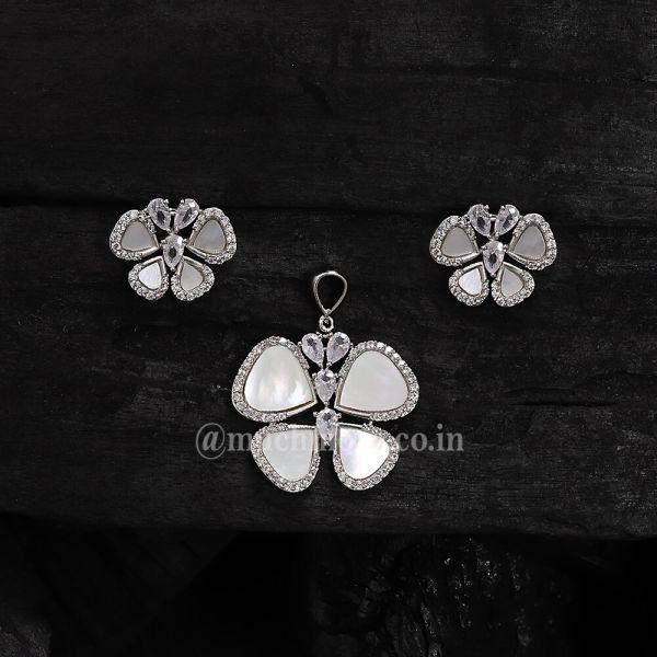 Butterfly Diamond Pendant Set For Girl Mother Of Pearl Pendant