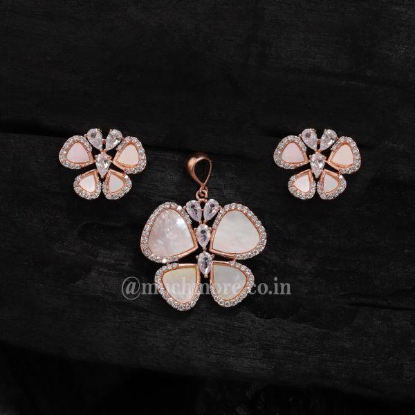 Butterfly Diamond Pendant Set For Girls Mother Of Pearl Pendant