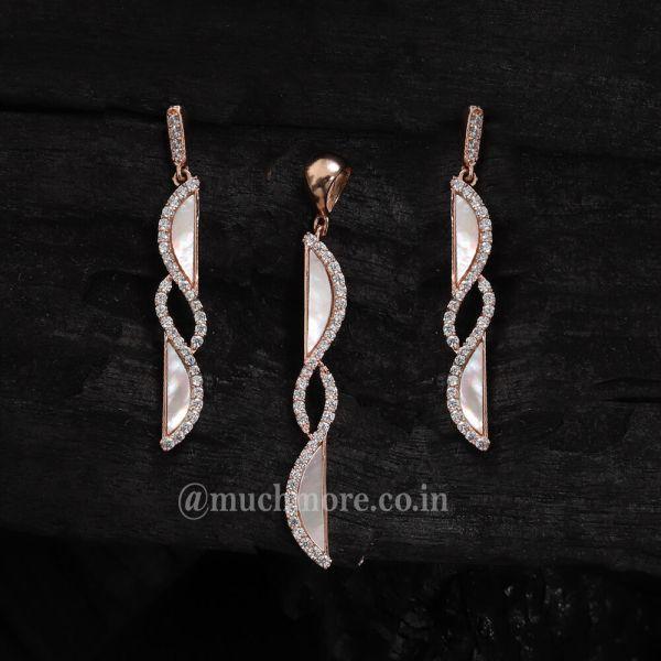 Light Artificial Diamond Pendant Set Mother Of Pearl Pendant