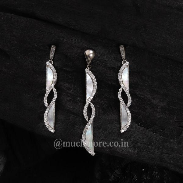 Light Artificial Diamond Silver Color Pendant Set Mother Of Pearl Pendant