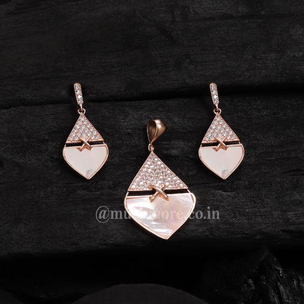 American Diamond Pendant Set Online Mother Of Pearl Pendant