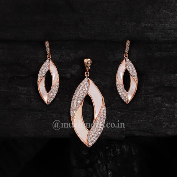 Artificial Diamonds Party Ad Chain Pendant Sets Mother Of Pearl Pendant