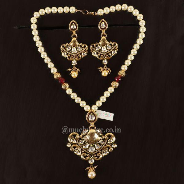 Pearl Mala Ruby Kundan Pendant Set With Earring