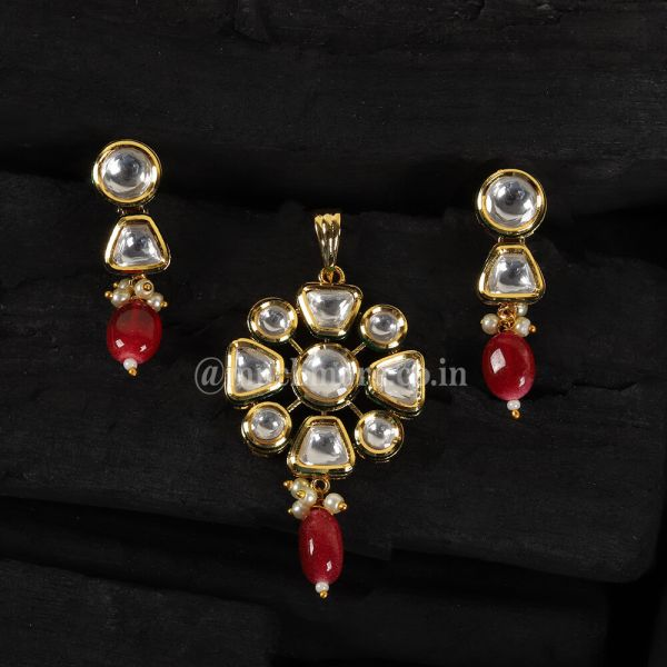 Ruby Dropping Flower Shaped Pendant Set