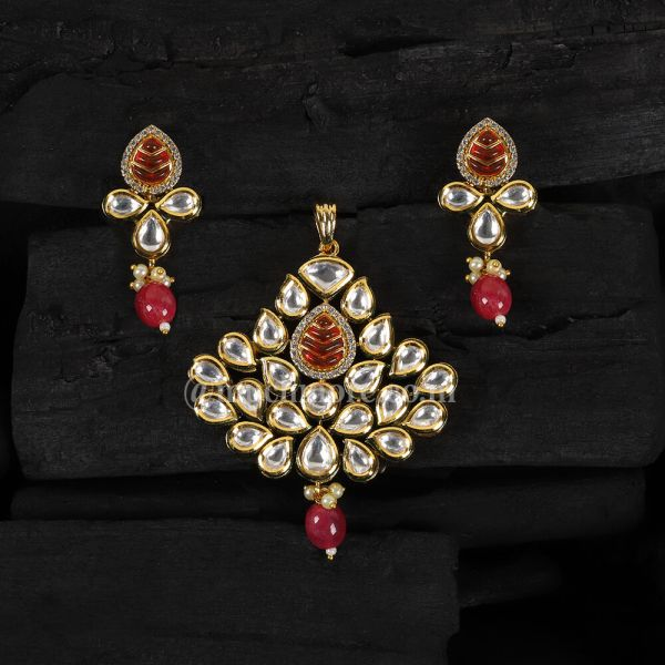 Pendant Set With American Diamond And Ruby Drops