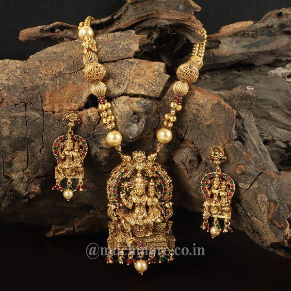 Lord Shiva Parvati Gold Plated Pendant Set