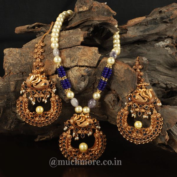 Blue Beads Peacock Pendant Set With kaan Chain Earrings