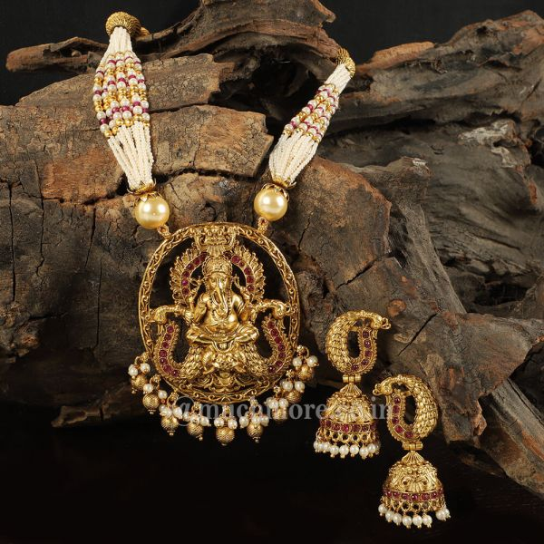 Lord Ganesha Antique Pendant Set By Much More