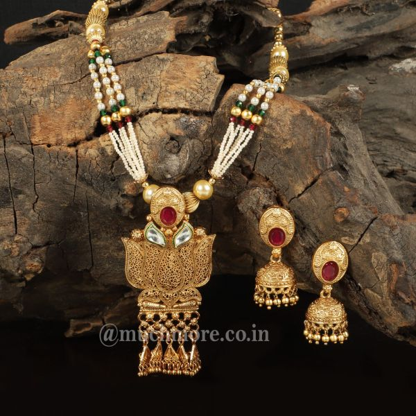 Lotus Flower Shaped Studded With Ruby Pendant Set