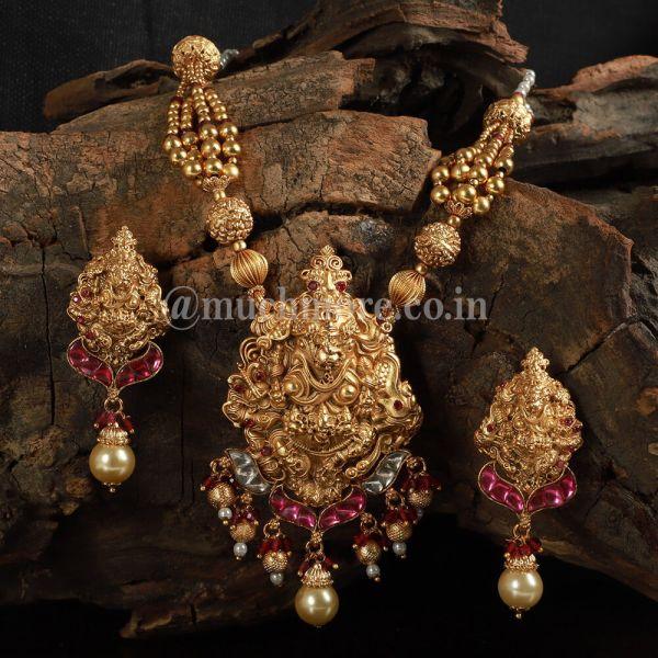 Gold Polish Lord Ganesha Ruby Pendant Set For Women