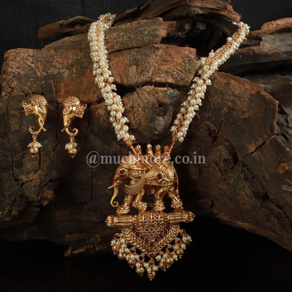 Temple Work Big Elephant Pendant Set By Much More