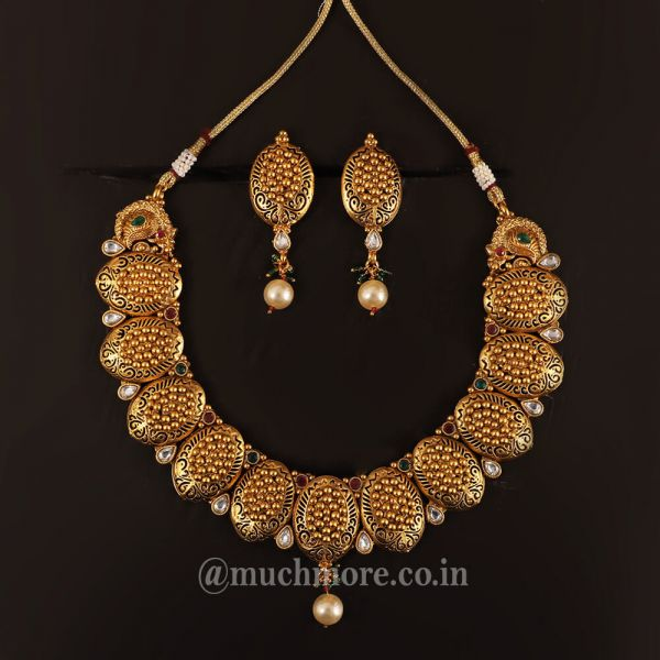 Traditional Gold Plated Necklace Set For Women