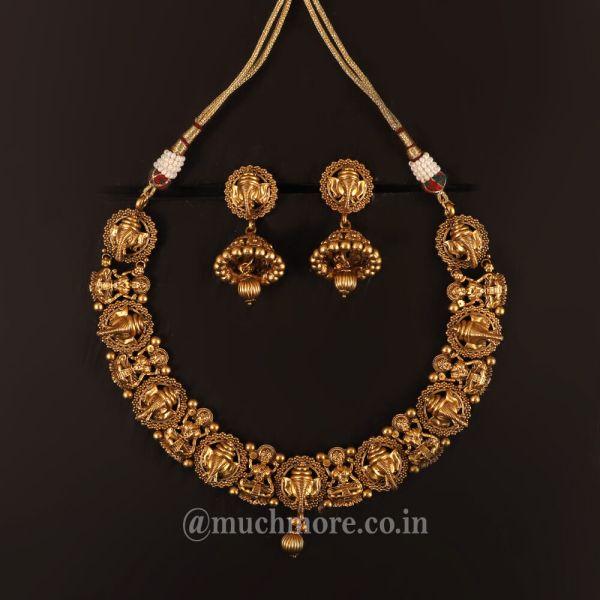 Intricate Temple Work Ganesha Laxmi Necklace Jewellery